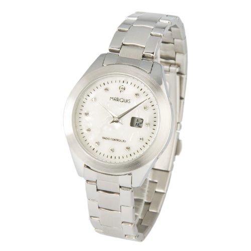 Elegante MARQUIS Damen Funkuhr Armbanduhr (Junghans-Uhrwerk), Perlmutt Zifferblatt mit Kristallsteinchen - 964.4100