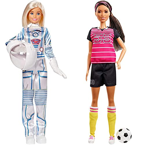 Barbie GFX24 Career 60th Doll, I Can Be an Astronaut, with Space Helmet, Blonde & GFX26 Career 60th Doll, I Can Be an Athlete, Brunette Soccer Player Doll with Soccer Ball, Multi-colour