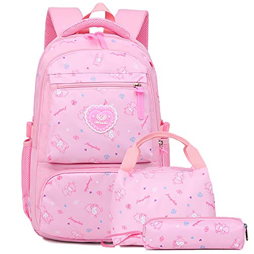 mochilas escolares lindas con lonchera y estuche para niñas adolescentes, estudiantes Mochila impermeable para niños 7-16 años 2-6 grado primaria mochila de viaje (Pink)