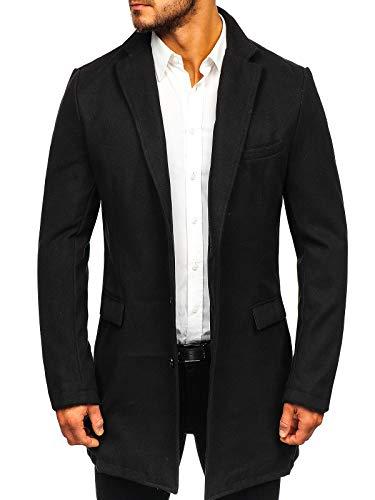 BOLF Herren Wintermantel eleganter Look Coat Mantel mit Offener Revers-Kragen J.Boyz 1047 Schwarz L [4D4]