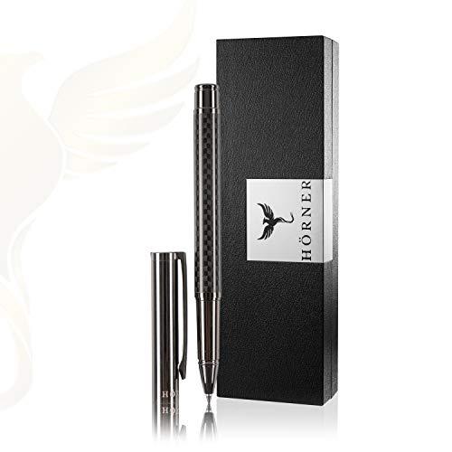 HÖRNER CARBONEO - Hochwertiger Carbon Tintenroller I Schwarz aus Metall I in edler Geschenkbox