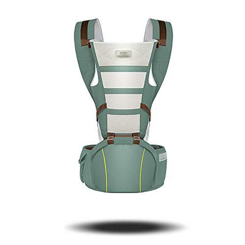 AIMIXU Portabebés, Eslinga ergonómica para portabebés con Asiento para la Cadera, Recomendado para bebés de 3 a 36 Meses, Posiciones Delantera y Trasera,Verde