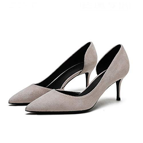 Zapatos Tacón Alto Gamuza Punta Puntiaguda Mujer Zapatos Individuales Clásicos Bombas Sin Cordones Mujer Zapatos Vestir Cómodos Moda Cuatro Temporadas,Nude-36