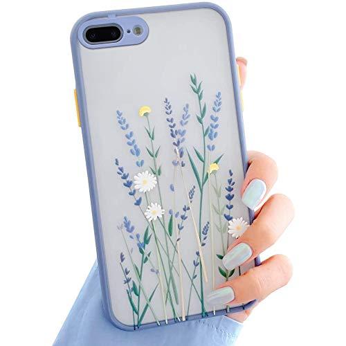 Funda Para iPhone 7 Plus/8 Plus,Carcasa Patrón de Flores Transparente Suave TPU Silicona Funda Floral Para Mujer Gel Bumper Anti-Rasguños Ultra Fina Protección Caso Para iPhone 7 Plus/8 Plus