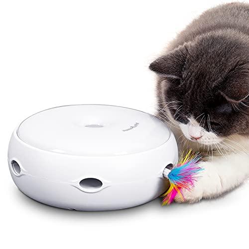 HAPPY HACHI Giocattolo Interattivo per Gatto con 2 Piuma Staccabile Giochi per Gattino Spegnimento Automatico 3 modalità di Commutazione per Kitten Esercizio Intrattenimento Batterie Incluse