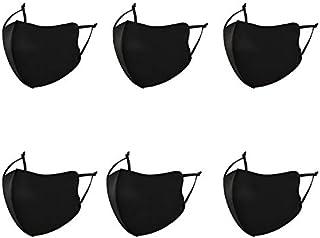 6 tuks zwart mondkapjes-wasbaar en herbruikbaar mondmasker-zonnescherm winddicht ijs zijde katoenen masker stofdicht-Gesch...