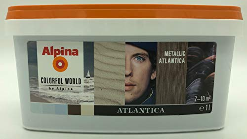 Alpina Colorful World Effektfarbe für faszinierende Metall-Optik - 1 Liter für ca. 7-10 m² (Metallic Atlantica)