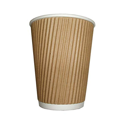 100 x Kraft 12 Ounce Ripple 3 Ply Disposable Insulated Paper Cups For Tea...