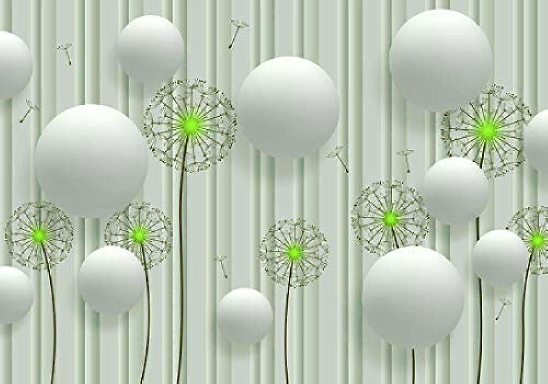 Wandmotiv24 Fototapete Weiss 3D Kugeln grün PusteBlaumen Blaumen M4043 XXL 400 x 280 cm - 8 Teile Wandbild - Motivtapete - Tapete