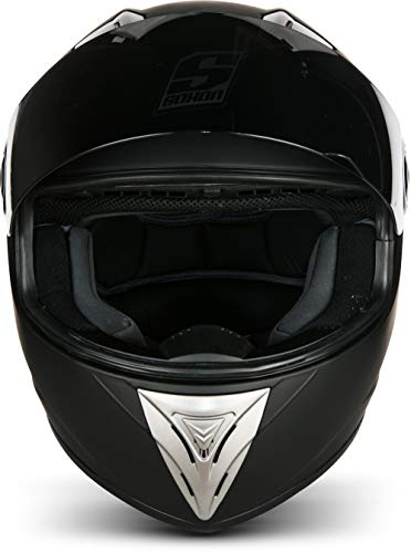 SOXON ST-550 Fighter · Integral-Helm Scooter-Helm Urban Motorrad-Helm Roller-Helm Cruiser Sport Helmet Sturz-Helm · ECE zertifiziert · inkl. Sonnenvisier · inkl. Stofftragetasche · Schwarz · XS (53-54cm) - 6