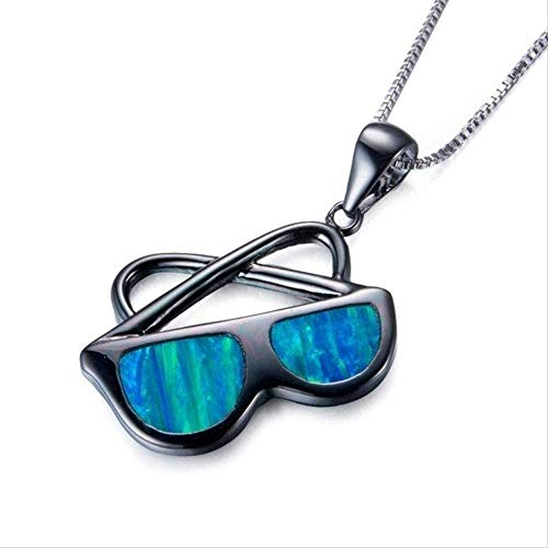 NC190 Collar de Moda Diseño de Personalidad Gafas de Sol de ópalo Azul Collar con Colgante Estilo Hip Hop Hombres S Rock Party Prom Jewelry 50cm