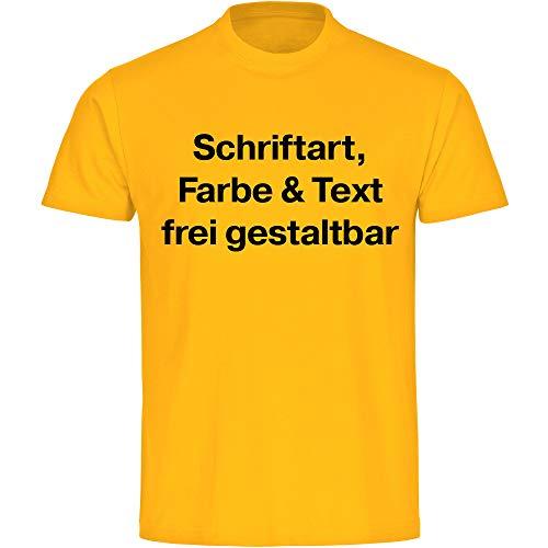 T-Shirt Shirt Herren Größe S bis 5XL inkl. Druck vorne (Anpassung von Text, Schriftart, Schriftfarbe und Artikel Farbe) Bedrucken gestalten, Größe:M, Farbe:gelb