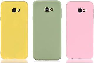 Everainy (3 Paquete Funda Compatible para Samsung Galaxy J4+/J4 Plus 2018 Silicona TPU Color sólido Cover Bumper Ultrafina Goma Caso Caucho Antigolpes (Amarillo/Verde/Rosa 1)