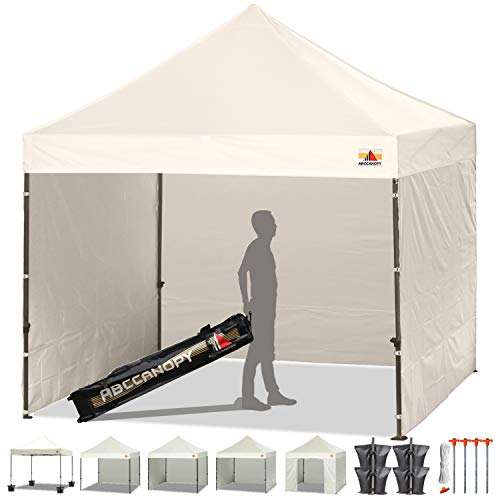 ABCCANOPY Pop-up Canopy Tent 8x8 Commercial Instant Tents Outdoor Canopies Easy to Set Up with 3 Side Walls and 1 Door Wall,Bonus Roller Bag, 4 Sandbags and Stakes(30+ Multi Colors) (White)