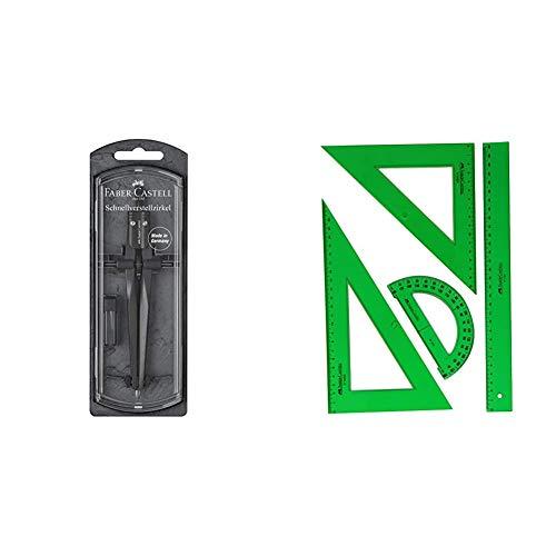 Faber-Castell 174530 - Compás Stream 2019, piedra negra. Para circunferencias de hasta 340 mm + 65021 - Pack escolar con escuadra, cartabón, regla y semicírculo, color verde