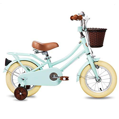 TSDS Kinderfahrrad Retro Fahrrad Weiß/Pink/Grün Outdoor Fahrrad Mit Korb (Color : A, Size : 12 inch)