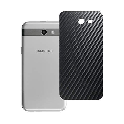 Vaxson 2 Unidades Protector de pantalla Posterior, compatible con SAMSUNG Galaxy J3 Emerge, Película Protectora Espalda Skin Cover - Fibra de Carbono Negro