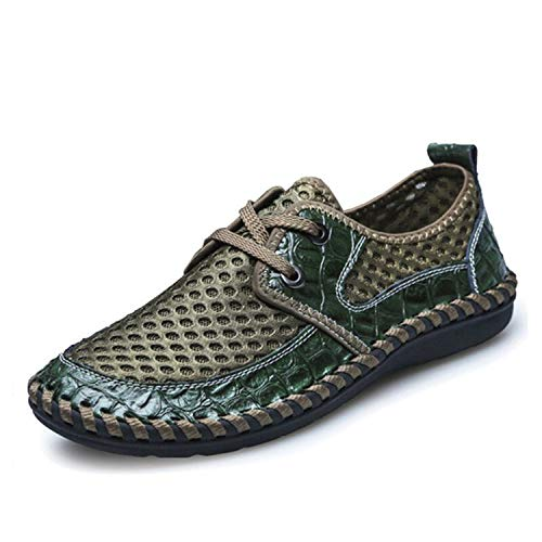 Summer Breathable Mens Casual Shoes Genuine Leather Slip On Summer Soft Comfortable,Lace Green,15