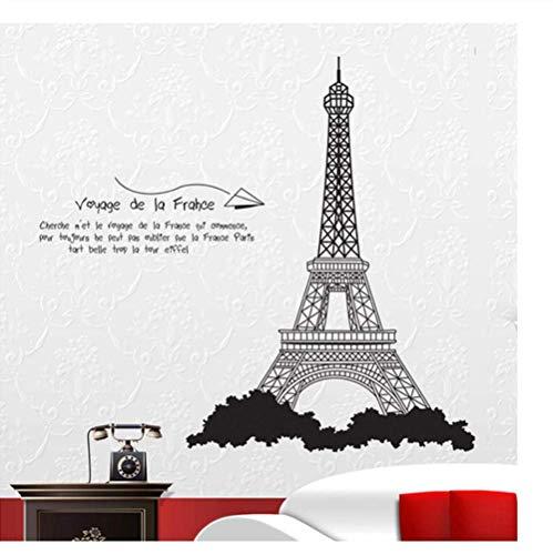 Adhesivo decorativo para pared, diseño de la torre, el dormitorio en el fondo de tres generaciones de pegatinas de pared ecológicas 100 x 90 cm