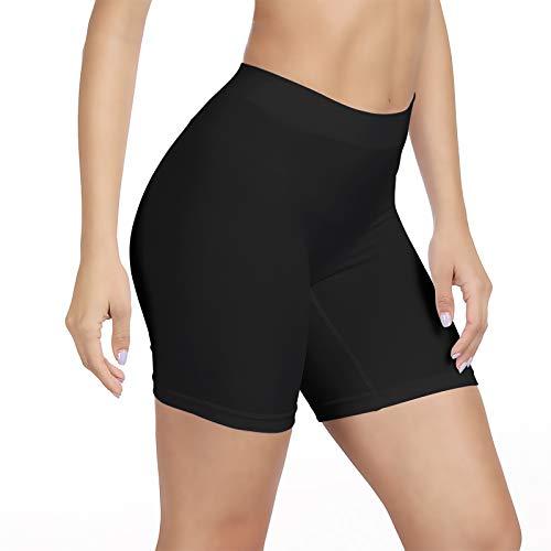 SIHOHAN Womens Slip Shorts Comfortable Short Pants Ultra Soft Seamless long briefs for Under Dresses Leggings and Yoga SportsMedium Black