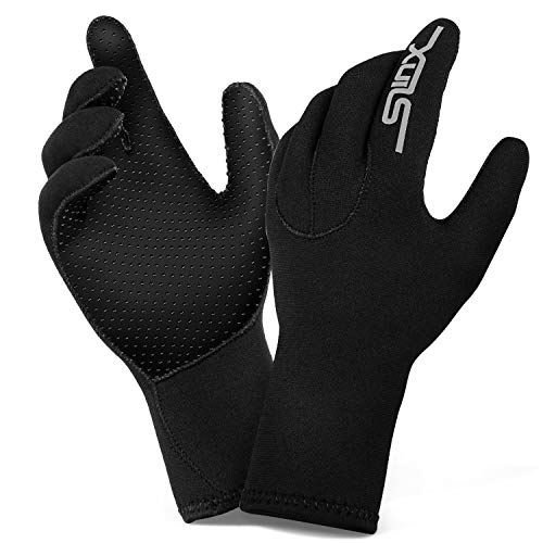 ZIPOUTE Neoprene Diving Gloves, 3MM Five Finger Wetsuit Gloves for Scuba-Diving,Snorkeling, Surfing, Kayaking, Cleaning Pond and All Water Activities for Men and Women