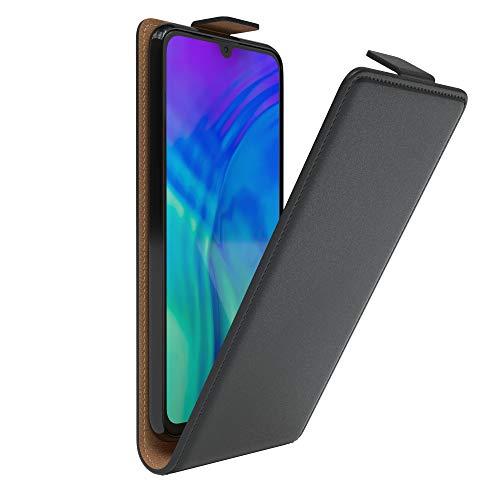 EAZY CASE Hülle kompatibel mit Honor 20 Lite/Huawei P Smart Plus (2019) Flip Cover zum Aufklappen, Handyhülle aufklappbar, Schutzhülle, Flipcase, Flipstyle Hülle vertikal klappbar, Kunstleder, Schwarz