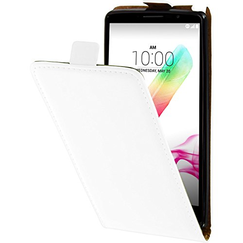 PhoneNatic Kunst-Lederhülle kompatibel mit LG G4 Stylus - Flip-Hülle weiß + 2 Schutzfolien