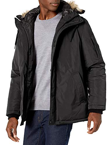 Calvin Klein Men's Classic Parka Jacket with Faux Fur Hood, black, Small