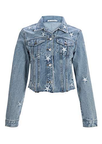 Glam and Gloria Veste courte en jean pour femme avec étoiles - Look vintage - Bleu - W36/38