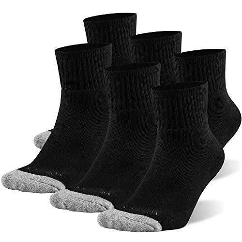 WANDER 6 Paar Sportsocken Herren Wandersocken Running Socken Baumwolle Sneakersocken Quarters Atmungsaktive Schwarz 43-46 M