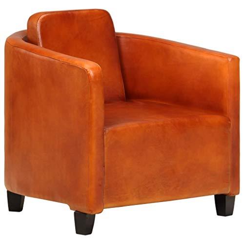 Festnight Sessel Hellbraun Echtleder Einzelsofa Lounge Polstersofa Polstersessel Ruhesessel Ledersofa Ledersessel 66 x 70 x 67 cm