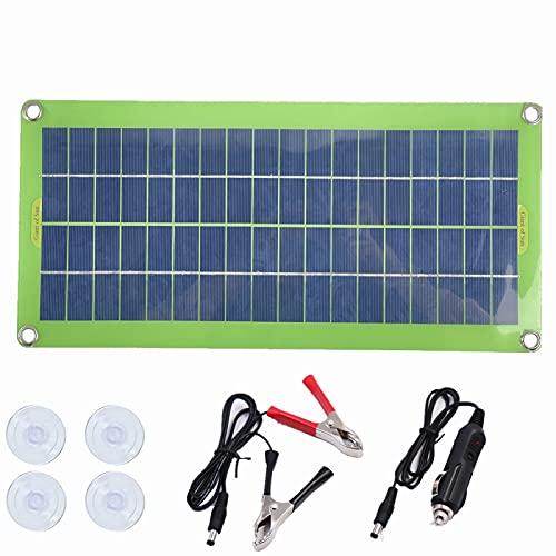 CHJAA Kit del Panel Solar 5v 18v 30w, Cargador Solar de Tablero Luminoso portátil, Cargador de batería del Coche del teléfono móvil, para Coche, Barco, Senderismo, Camping, Banco de energía