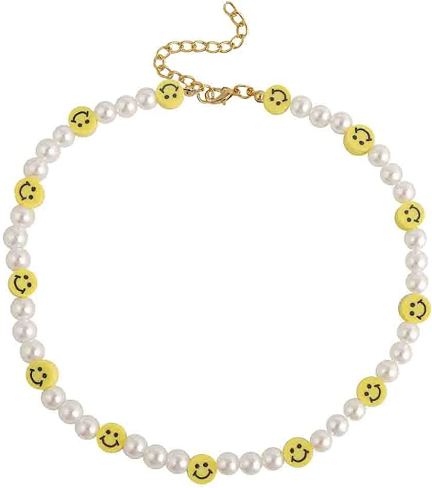 Smiley Face Pearl Choker Necklace Cute Flower Pearl Necklace Love Fruit Animal Dessert Hademade Y2K Necklace for Teen Girls Women