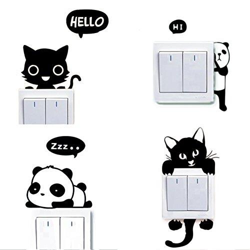 Dosige 4 PCS Conjunto Gato y Panda Interruptor de Luz Cambiar Coche Pegatinas de Ventana Pared Creativo Pet Extraíble Pegatinas Vinilo Decal Murales para Cocina Sala de Estar