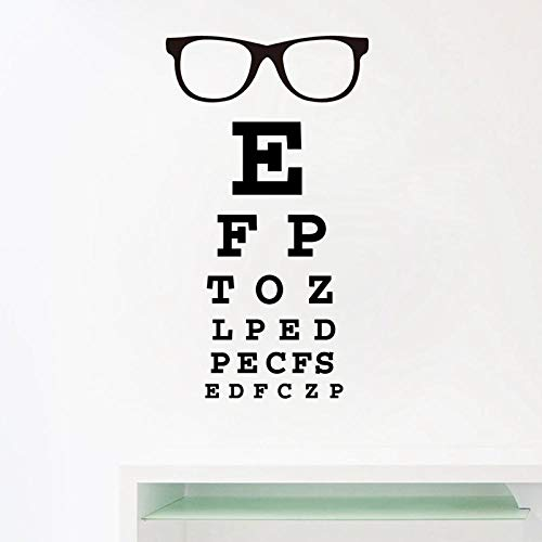 cooldeerydm Bril Oogdiagram Letter Art Muurstickers spec Frame Vinyl Sticker Ophthalmologist Optics Bril Shop Deur en Raam Decoratie