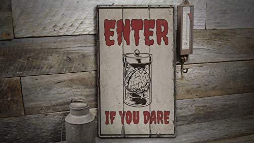 St234tyet Panneau en bois avec inscription « Enter if You Dare » et inscription en anglais « Enter if You Dare »