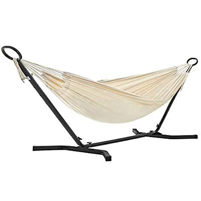SONGMICS Hammock with Stand, Double Hammock at 82.7 x 59.1 Inches, 5 Adjustable Heights, Portable Hammock, Metal Stand, Holds up to 520 lb, for Yard, Garden, Black Stand and Beige Hammock UGHS001M01