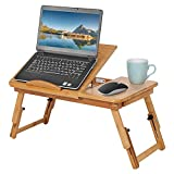 Ejoyous Bandeja de cama, bandeja de cama, mesa para ordenador portátil, de bambú, soporte para portátil, 1 unidad, estantería de bambú ajustable con pequeño cajón para usar en la cama o el sofá