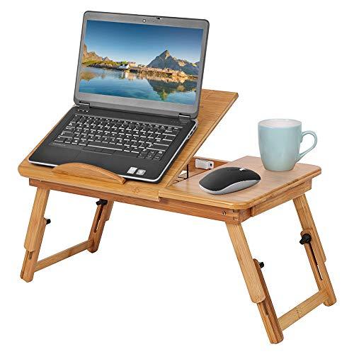 Ejoyous Laptoptisch Notebooktisch Betttisch Pflegetisch Klapptisch Mit Schublade Bambus