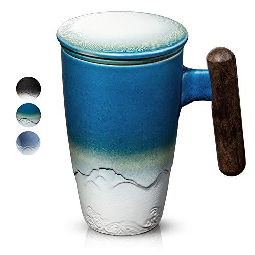 SULIVES Keramik Teetasse mit Deckel und sieb,Teetrennbecher,Becher aus Porzellan für Losen Tee Oder Beutel dunkelblau,400 ml