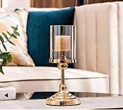 NFSWMHLE European Style Home Retro Metal Pillar Candle Holder with Glass Cover Candlelight Dinner Lamp Props Candle Holder...
