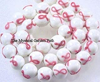 6 Opaque White with Pink Ribbon Breast Cancer Awareness Glass Beads for Jewelry Making, Supply for DIY Beading Projects ~11mm Round