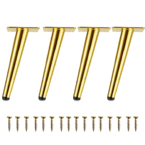 4pcs 5 inch Furniture Legs Gold Metal Sofa Replacement Tapered Legs with Screws for Sofa, Couch, Ottoman, Chair, Desk, Cupboard, Coffee Table