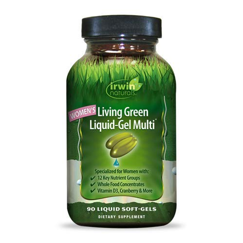 Irwin Naturals Women's Living Green Liquid-Gel Multi Vitamin - 70 Essential Nutrients, Full-Spectrum Vitamins, Wholefood Blend - Targeted Adrenal & Brain Support - 90 Liquid Softgels