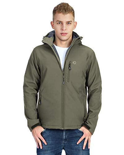 Mens Softshell Fleece Lined Tactical Waterproof Olive Green Hooded Jacket for Hiking