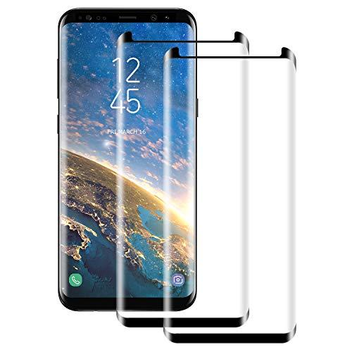 NUOCHENG 2 Piezas Cristal Templado para Samsung Galaxy S8, 3D Curvado Protector Pantalla, 9H Dureza Alta Definicion Vidrio Templado