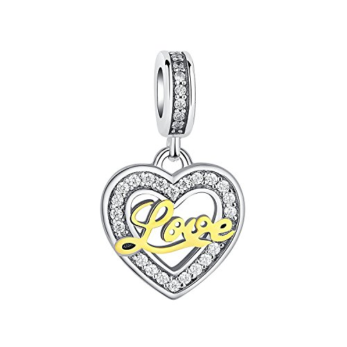 """Glamulet""""Love Always in Your Heart"""" 925 Sterling Silver Heart Shape Charms Gold Love Letters Pendants"""