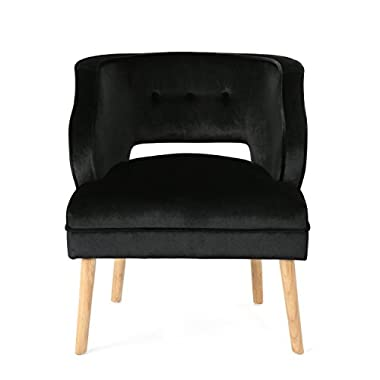 Christopher Knight Home Mariposa Mid-Century Velvet Accent Chair, Black / Natural