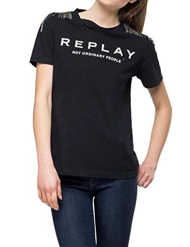REPLAY W3217b.000.22660 Camiseta, Negro (Black 98), Medium para Mujer