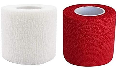 PintoMed Venda Cohesiva 3 x BLANCO + 3 x ROJO - 6 rollos – 5cm x 4,5m. Cinta autoadhesiva elastica y flexible. Esparadrapo deportivo. Vet Wrap. Primeros auxilios y lesiones de los deportes